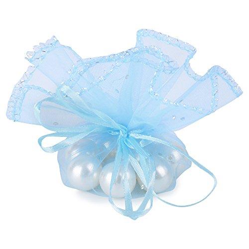 AONER (Dia. 26cm) 100 pz Sacchetti Tulle Veli Organza con Nastrino Bomboniere Portaconfetti Come Segnaposto per Matrimonio Laurea Battesimo Compleanno Confezione Gioielli (Celeste)