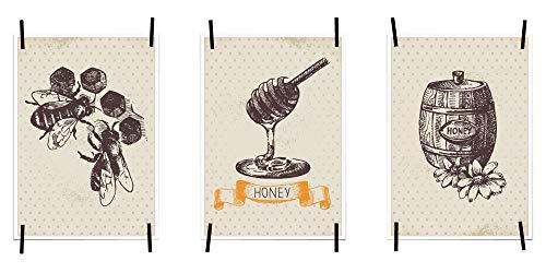 myprinti® Keukenafbeeldingen, posters, afbeeldingen voor de keuken, keukenposter, kunstdruk, moderne wanddecoratie, keuken decoratie, bijen, honing, honing, honing, honing, honing vat