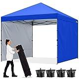 ABCCANOPY 1.8x1.8M Pavillon Outdoor Easy Pop-up-Überdachungszelt mit 2 Seitenwände,Blau