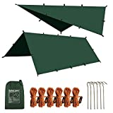 10X10FT Waterproof Camping Tarp,Multifunctional Outdoor Portable Lightweight Backpack Tarp Tent for Picnic,Hiking,Sun Shade Shelter and Hammock Waterproof Fly Tent Tarp