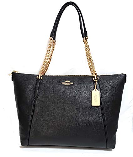 COACH AVA CHAIN TOTE F22211, LIGHT GOLD/BLACK, 16.5'L measuresing top x 11'H x 4'W