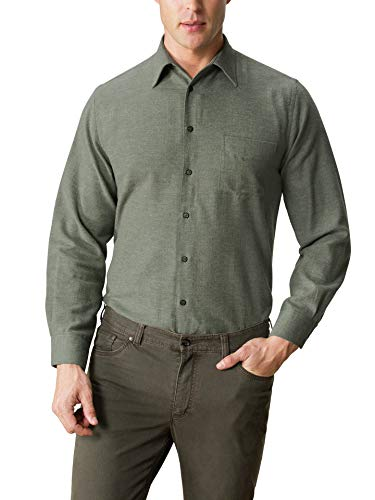 Walbusch Herren Hemd Thermoflanell Softmelange einfarbig Schilf 49-50 - Langarm extra lang