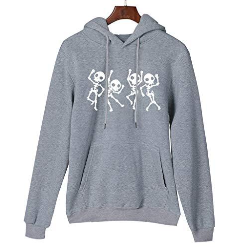 Best Price HNTDG Women Halloween Skull Print Long Sleeves Pullover with Pocket Hooded Sweatshirt Blo...
