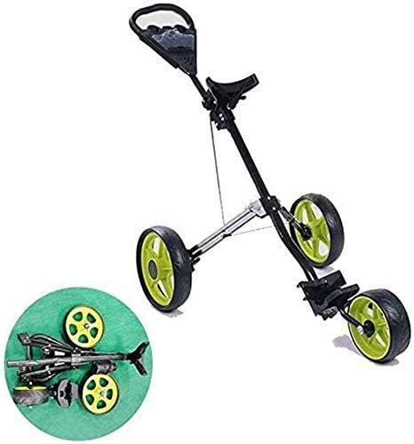LBWARMB Carrito de Golf Carrito de Golf Ligero Plegable Carro de Golf 3 Ruedas Golf Push Cart con el sostenedor del Asiento Bebida One Second Cerrar Plegable for Abrir/Cesta Plegable Cesta