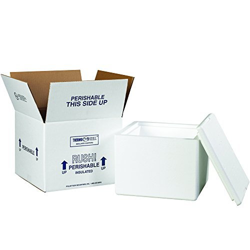 Boxes Fast BF214C Insulated Shipping Box with Foam Container, 9 1/2' x 9 1/2' x 7', Small, White