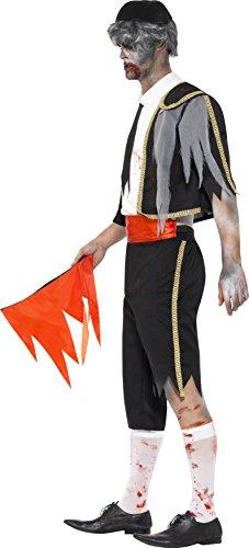 SMIFFYS Smiffy's 44368M - Zombie Matador Costume Nero con Giacca Pantalone Cummerbund Cappello & Rosso Flag, M