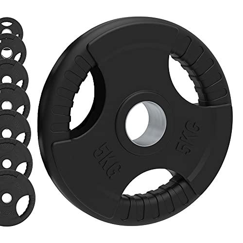 Body Revolution - Set di dischi olimpionici in ghisa rivestiti in gomma, con tripla impugnatura raggiata, Nero , 15kg Pair