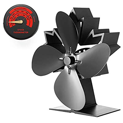 2020 Stove Fans Maple Leaf Design - Ultra Silent Operate Fan Fire - Fuel Saving Heat Powered Log Burner Fan for Gas/Pellet/Wood Burning Stoves - 40% More Airflow Than Other Model