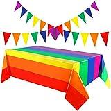 2 Mantel Plástico Desechable de Arcoiris de Orgullo de Carnaval Funda de Mesa Rectangular...