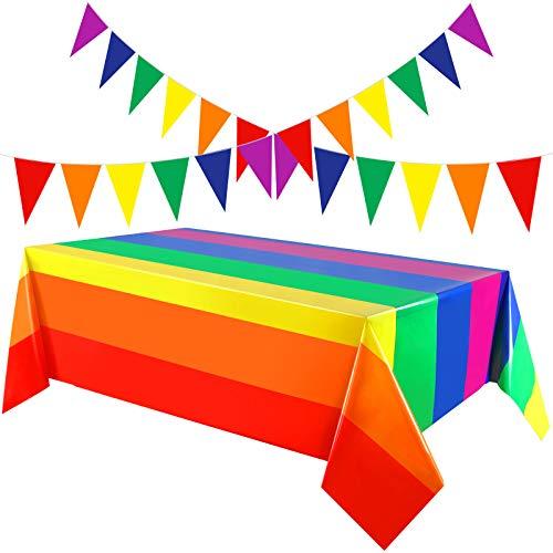 2 Mantel Plástico Desechable de Arcoiris de Orgullo de Carnaval Funda de Mesa Rectangular 51 x 71 Pulgadas con 2 Banner Banderín de Colores de 20 Pies para Decorar Desfile de Gay Fiesta Festival