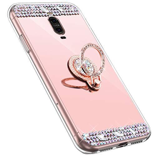 MoreChioce kompatibel mit Huawei Mate 9 Pro Hülle,Huawei Mate 9 Pro Glitzer Hülle mit Ring,Bling Glitzer Rosa Gold Spiegel Silikon Diamant Schutzhülle Strass Crystal Defender Bumper mit Ständer