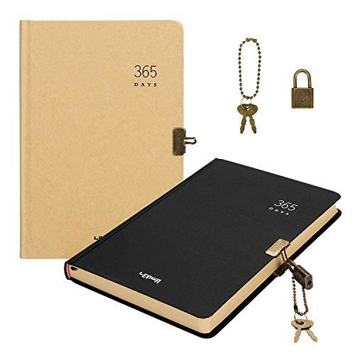Bloc de notas A5, grueso, papel de estraza, con cerradura, en blanco, 365 días, diario de viaje, página de inicio, notas de pintura, cuaderno de trabajo, cuaderno de negocios, amarillo + negro