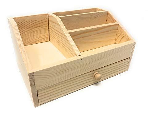 Vetrineinrete® Portapenne organizer in legno da scrivania 4 scomparti con cassetto portaoggetti contenitore penne da decorare per decoupage G76