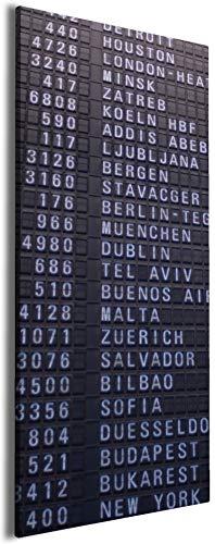 Wallario Leinwandbild Flughafen Abflugtafel - 50 x 125: Brillante lichtechte Farben, hochauflösend, verzugsfrei