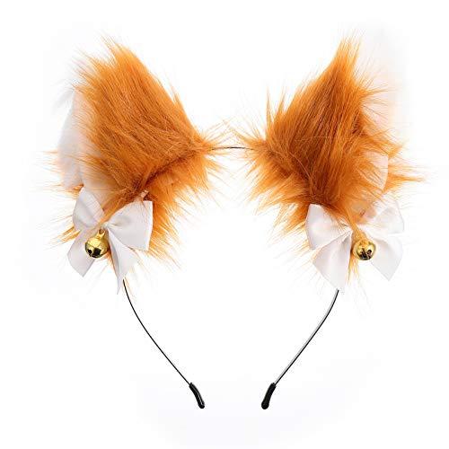 Beaupretty Fox Ears Headband Plush Anime Animal Headband Cosplay Fur Cat Ears Hairband Party Costume Hair Accessories for Kids and Adults Brown