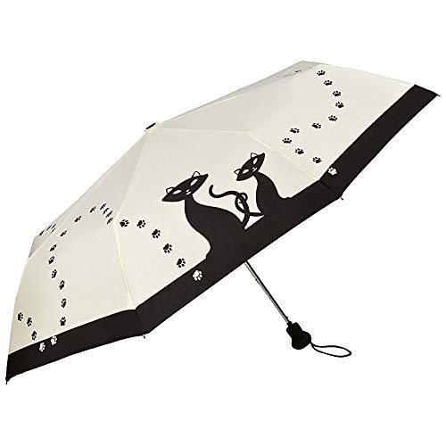 VON LILIENFELD Regenschirm Taschenschirm Stabil Leicht Auf-Automatik Damen Kätzchen Schwarze Katzen