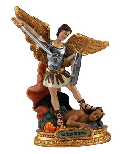 Woodington's Saint Michael The Archangel Colored Resin Small 5 Inch Statue