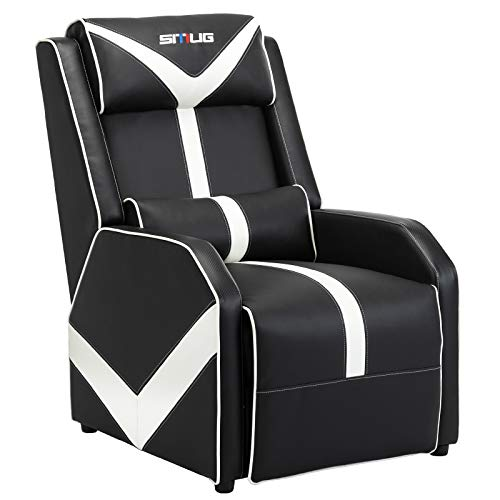 Gaming Recliner Chair Single Living Room Sofa Racing Style Ergonomic Lounge Sofa Modern PU Leather Recliner Home Theater Seat for Living & Gaming Room (Black/White)