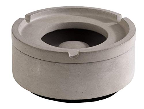 """APS Wind-Aschenbecher """"Element"""" – Premium Aschenbecher aus Beton – 3 Rillen für die Zigarettenablage – Ascher mit möbelschonender Unterseite 10,5 x 5cm"""