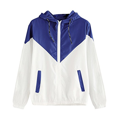WHSHINE Damen Mode Herbst Winter Sport Jacken Langarm Patchwork wasserdichte Windjacke Lose Freizeit Damen Mäntel Dünne mit Kapuze Reißverschluss Taschen Outwear(Blau,M)