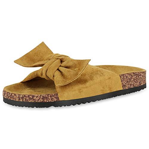 SCARPE VITA Damen Sandalen Pantoletten Wildleder-Optik Schleife Schlappen Sommer Schuhe Korkoptik Hausschuhe Flats Strandschuhe 176977 Gelb Schleife 37