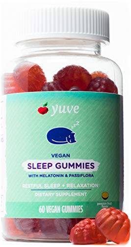 Yuve Sleep Gummies for Adults & Kids - Chewable Melatonin 2 mg - Vegan Sleep Aid with Pure Passiflora Extract & B6 Vitamin Supplement - Restful Sleep & Relaxation - Yummy Passion Fruit Flavor - 60ct
