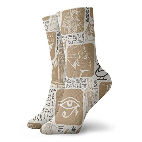 Calcetines cortos para hombre y mujer, 30 cm, diseño retro de Egipto, clásico, para correr, regalos de fitness