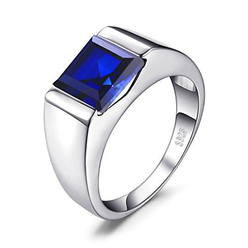 JewelryPalace Anillo Hombre 3.3ct Con Creado Zafiro Azul Cuadrado Compromiso Sólido Plata de ley 925 Tamaño 22