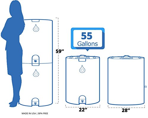 Blue 55 Gallon Water Storage Tank by WaterPrepared - Emergency Water Barrel Container with Spigot for Emergency Disaster… 5