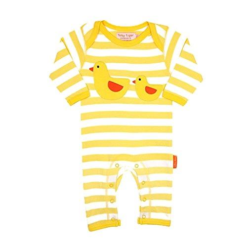 Toby Tiger Duckling Applique Sleepsuit Combinaison, Jaune - Yellow (Yellow/White), 6-12 Mois (Taille Fabricant:80 cm) Mixte bébé