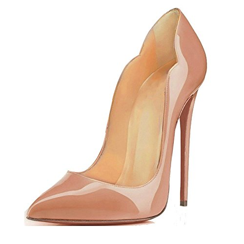 EDEFS Damen High Heels Pumps Pointed Toe Slip On Stilettos Schuhe Übergröße Beige EU40