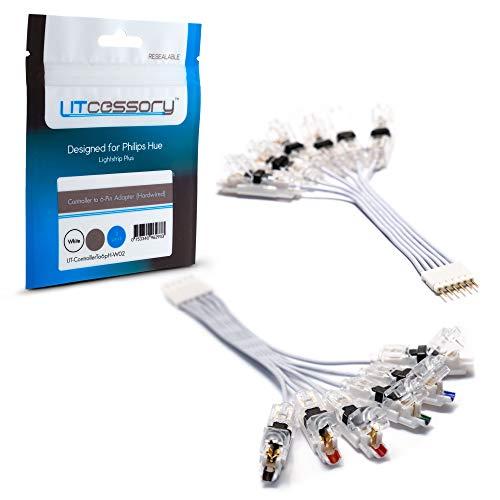 Litcessory Controller auf 6-Pol Adapter für Philips Hue Lightstrip Plus (Festverdrahtete, Weiß)
