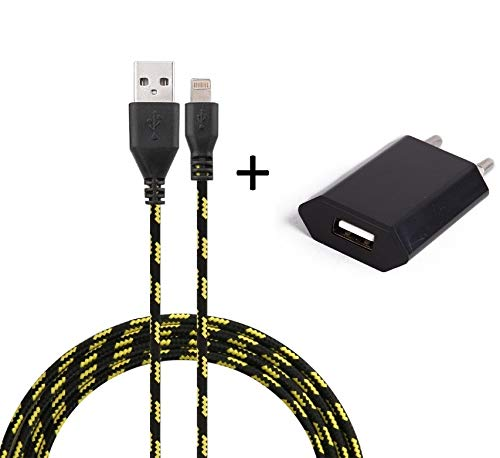 Shot Case Universal Android Wall Charger Pack for iPad Air Lightning (3 m Braided Cable + USB Plug) Black