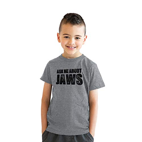 Crazy Dog Tshirts - Youth Ask Me About Jaws Cool Movie Flip Shirt for Kids - Camiseta para Niños