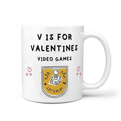 STELULI Taza de café V Is For Valentines Videojuegos de cerámica lisa retro única – Taza de leche para oficina blanca 325 ml