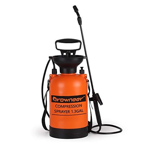GROWNEER 1.3 Gallon Portable Pump Pressure Sprayer with Pressure Relief Valve and Adjustable Shoulder Strap in Lawn, Yard, Garden, Weed