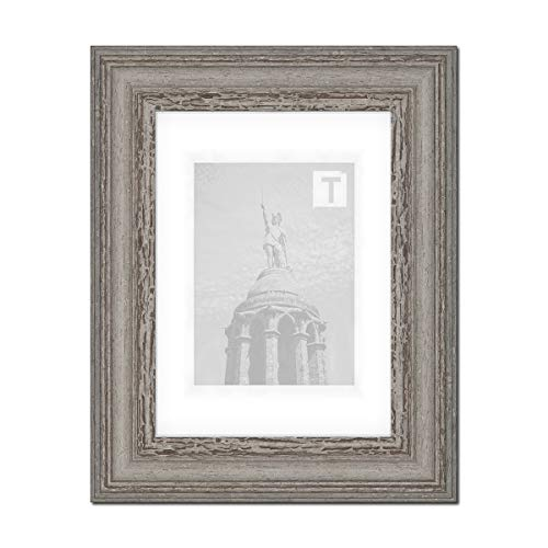 Barock-Bilderrahmen Heloise Grau 30 x 40 cm Museumsglas 2mm Antik gescheckt Vintage