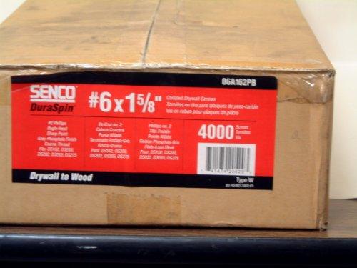 SENCO BRANDS 06A162PB Duraspin Collated Drywall Screw, 1 5/8'
