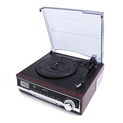 Camry CR 1168 Plattenspieler mit Radio FM, Bluetooth, AUX- Eingang, Wecker, USB, MP3, SD, Schallplattenspieler mit 2 eingebauten Lautsprechern, LCD - Anzeige, Aufnahmefunktion