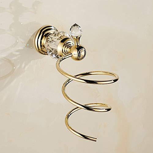 Hancoc Soporte de pared para secador de pelo, soporte para secador de pelo, organizador con organizador de cables de aluminio y acero inoxidable para baño