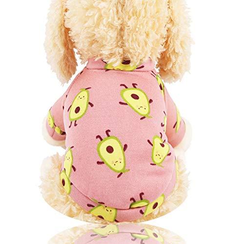 Winter Hond Avocado Print Kleding voor Huisdieren Honden Kleding Kostuum Honden Jas Jas Katten Outfits Warm Kleding voor Kat Chihuahua M
