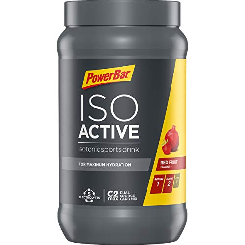 PowerBar Isoactive Red Fruit 600g - Isotonisches Sportgetränk - 5 Elektrolyte + C2MAX