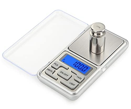 Meichoon Báscula Digital de Bolsillo para Yoyería Escala de Miligramos de Alta Precisión 1.1lb / 500g (0.01g) Joyas y Gemas Pequeña Balanza Electrónica C32