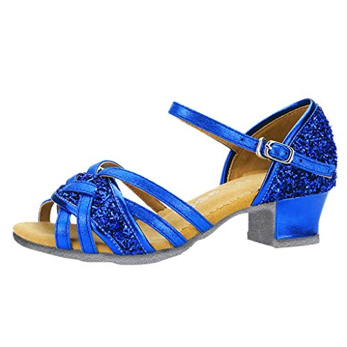Sannysis Kinderschuhe - Mädchen Tanzschuhe Weich Standard Latin Dance Prinzessin Schuhe Gelee Partei Absatz-Schuhe Stöckelschuhe für Kinder Blau 30