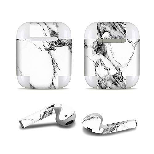 ProElife Nauwkeurige Protective Decal Skin Vivid Sticker Huidklevende Wrap Cover voor Apple Airpods 1/2 Opladen Case en Oordoppen, Krasbestendige Airpods Accessoires Kit, For Airpods 1 and 2, Marble-Black
