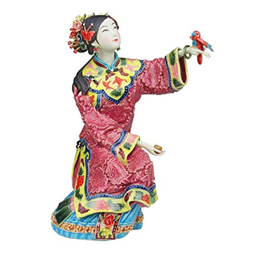AIJOAN-BJ Tierfiguren & Tierstatuen Statuen Dekoration Antike Chinesische Porzellanfigur Wohnkultur Statue Figur Keramik Ornament Klassische Damen Frühling Handwerk Gemalte Kunst