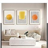 Pintura de línea minimalista abstracta Arte de la pared Puesta de sol Poser geométrico e impresiones Estilo nórdico Imagen de decoración del dormitorio del hogar 30x50cm / 11.8 'x19.7' X3 Sin marco