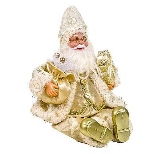 WXGY 15,5 34 cm Stoff Weihnachtsmann Sitzende Puppe Weihnachtspuppe Weihnachtsdekoration für Zuhause Kinder Spielzeug Geschenk