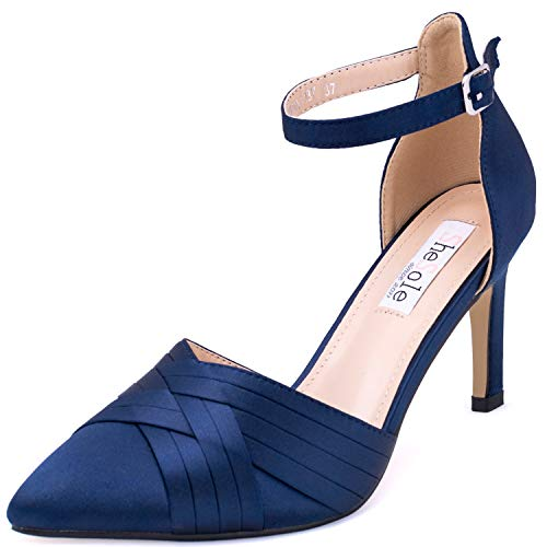 SheSole Damen Mid High Heels Spitze Pumps Knöchelriemen Stilettoabsatz Blau 37