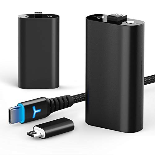 2 Pack Rechargeable Controller Battery Pack for Xbox Series X|S and Xbox One with 10FT USB C Charging Cable and Micro USB Adapter 6amLifestyle Battery Pack Xbox Play and Charge Kit, XBOX-SB03